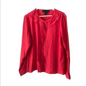 Kardashian Kollection Red Ruffle Front Blouse- XL